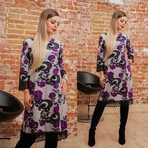 Платье короткое с рукавом 3/4 с принтом Ф4148