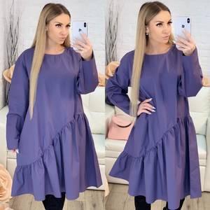 Платье короткое с длинным рукавом однотонное Х0642