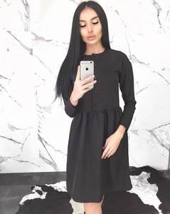 Платье короткое с рукавом 3/4 черное Ф8417