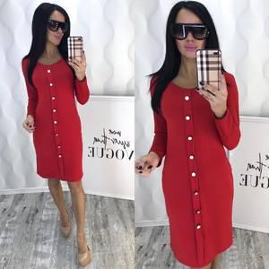 Платье короткое с длинным рукавом красное Ф5092