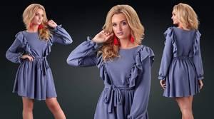 Платье короткое с длинным рукавом однотонное Ф9866