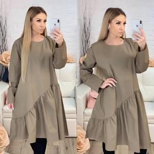 Платье короткое с длинным рукавом однотонное Х0643