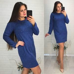 Платье короткое с длинным рукавом синее Ф3423