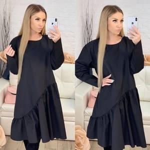 Платье короткое с длинным рукавом однотонное Х0644