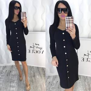 Платье короткое с длинным рукавом черное Ф5091