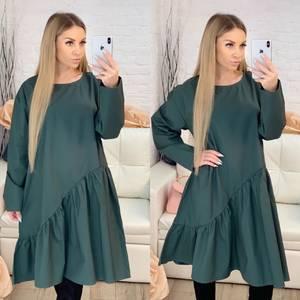 Платье короткое с длинным рукавом однотонное Х0645