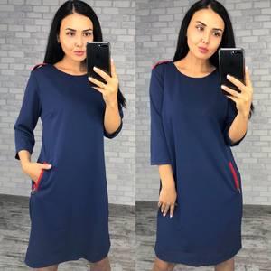 Платье короткое синее деловое Ф0406