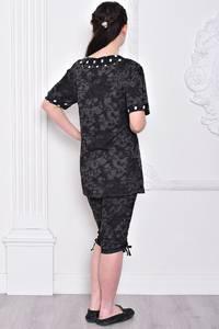 Костюм модный трикотажный черный С9309