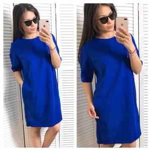 Платье короткое однотонное синее Т1524