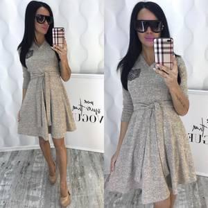 Платье короткое коктейльное с рукавом 3/4 Ф6435