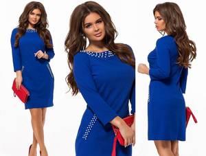 Платье короткое с рукавом 3/4 синее Ф6206