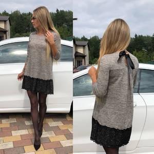 Платье короткое с рукавом 3/4 однотонное У0637
