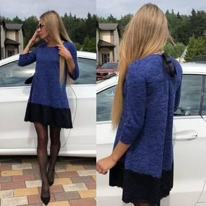 Платье короткое с рукавом 3/4 однотонное У0639