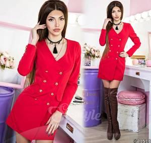 Платье короткое с длинным рукавом красное Ц0506