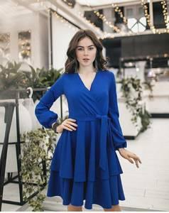 Платье короткое нарядное синее Ц0465