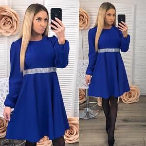 Платье короткое вечернее синее Ф3664