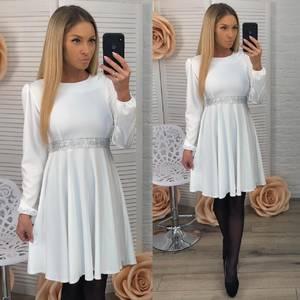 Платье короткое вечернее белое Ф3665