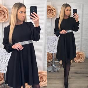Платье короткое вечернее черное Ф3666