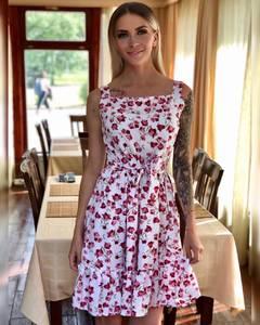 Платье короткое с принтом Ч1553
