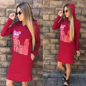Платье короткое с длинным рукавом современное У1005