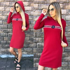 Платье короткое с длинным рукавом современное У1014