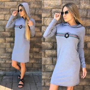 Платье короткое с длинным рукавом современное У1012
