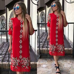 Платье длинное летнее красное У0818