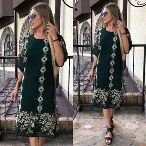Платье длинное летнее зеленое У0819