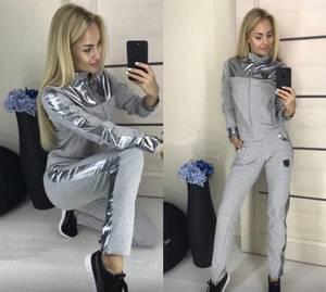 Костюм брючный модный серый Х0684