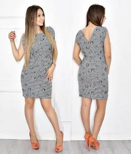 Платье короткое без рукавов с принтом Т6679