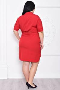 Платье короткое офисное красное С9189