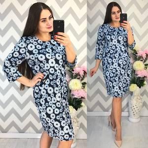Платье короткое нарядное с принтом Ф4336