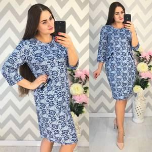 Платье короткое нарядное с принтом Ф4337