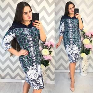 Платье короткое нарядное с принтом Ф4338
