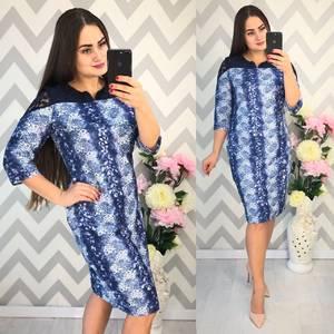 Платье короткое нарядное с принтом Ф4339