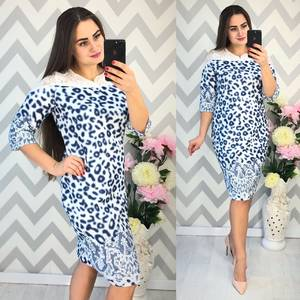 Платье короткое нарядное с принтом Ф4340