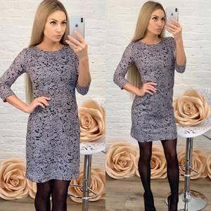Платье короткое с рукавом 3/4 с принтом Ф5760