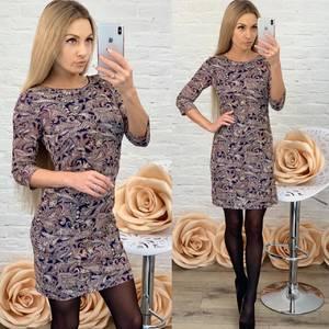 Платье короткое с рукавом 3/4 с принтом Ф5761