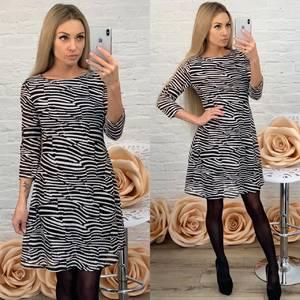 Платье короткое с рукавом 3/4 с принтом Ф5762