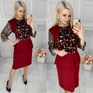 Платье короткое нарядное красное Х5133