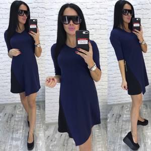 Платье короткое классическое синее У9694