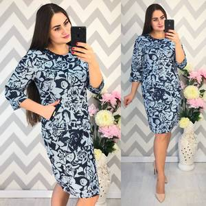 Платье короткое нарядное с принтом Ф4334
