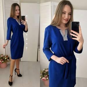 Платье короткое с рукавом 3/4 синее Ф4921