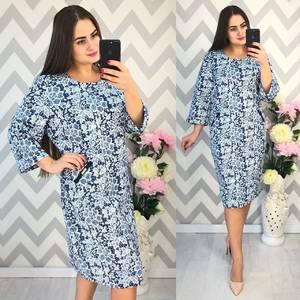Платье короткое нарядное с принтом Ф4335