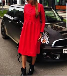 Платье короткое с длинным рукавом красное Ц2112