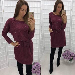 Платье короткое трикотажное однотонное У9446