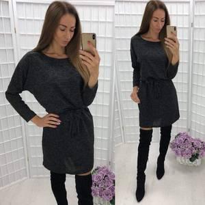 Платье короткое трикотажное однотонное У9447
