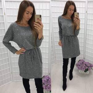 Платье короткое трикотажное однотонное У9448