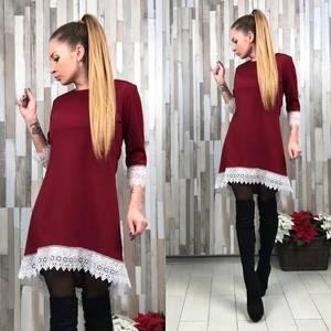 Платье короткое с рукавом 3/4 красное У9237