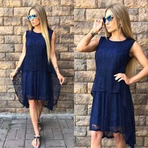 Платье короткое современное синее У8805